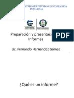 Preparación y presentación de Informes enero 2011