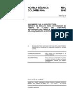 NTC 3696 Método de Ensayo para Determinar el Tiempo de Fluidez del Concreto Reforzado con Fibras a través del Cono de Asentamiento Invertido