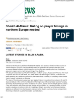 Sheikh Al-Manie_ Ruling on Prayer Timings in Northern Europe Needed