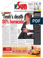thesun 2009-10-22 page01 teohs death 80pct homicide