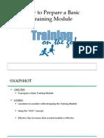 Howto Prepare a Training Module