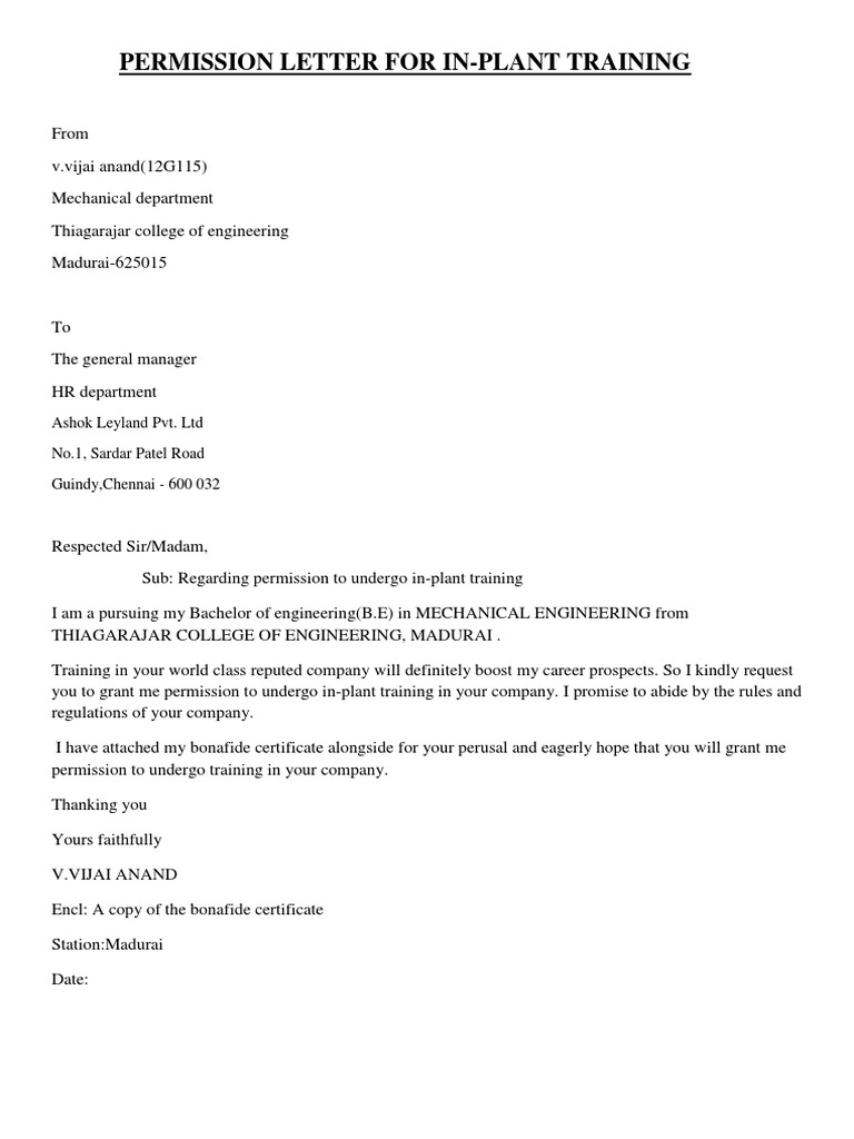 Request letter format to permission Formation Department   Home