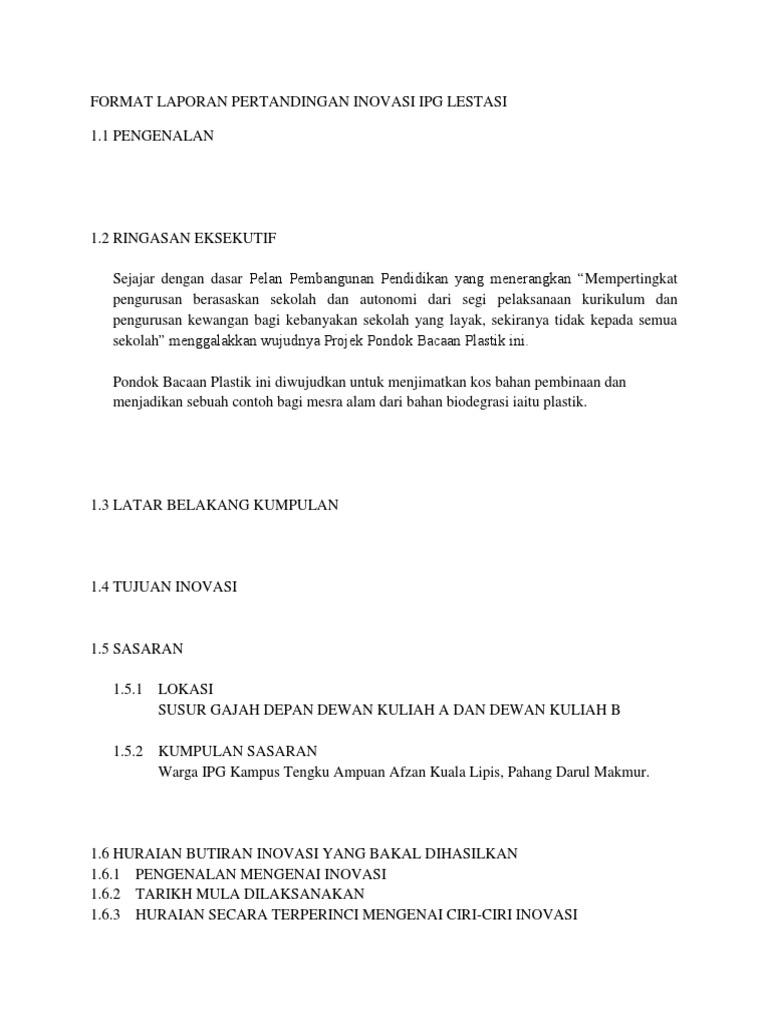 Format Laporan Pertandingan Inovasi Ipg Lestas1