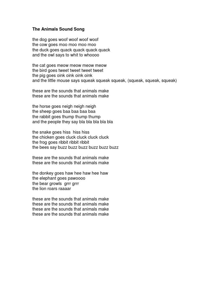 The animals sound song lyrics teachers creativity stopboris Gallery
