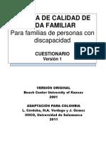 Escala Calidad Vida Colombia Cuestionario