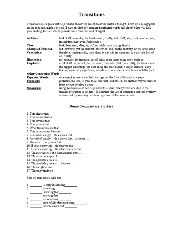 3 Transitions and Commentary Starters – Transitional Words and Phrases Worksheet