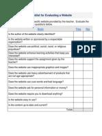 rubric for evaluating website - word v4