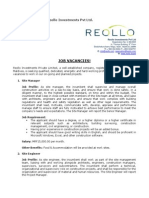 Job Opportunities at Reollo Investments Pvt Ltd 01042014