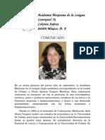 Da. Gloria Vergara en La Academia Mexicana de La Lengua_8 Septiembre 2011