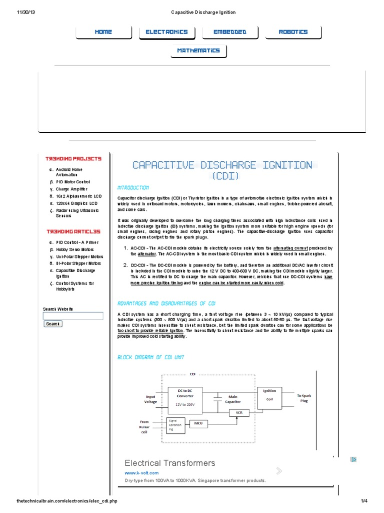Capacitor Discharge Ignition Circuit Diagram Also Capacitor Discharge