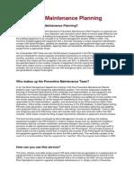 Preventive Maintenance Planning