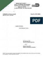 Miami-Dade Medical Examiner's toxicology report - Anthony Joseph Cassano