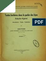 Textes berbères dans le parler des Irjen (Kabylie-Algérie) Tome I - André Picard 1958