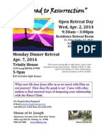2014 Apr. Open Retreat and Dinner Retreat Flyer - The Road to Resurrection FINAL