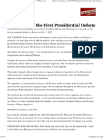Transcript of the First Presidential Debate in Denver - NYTimes