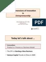 The Dimensions of Innovation in Entrepreneurship