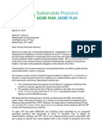 Sustainable Playland letter March 31, 2014