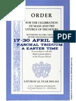 ORDO 2013/2014 Order for celebrations in April (Triduum & Easter)
