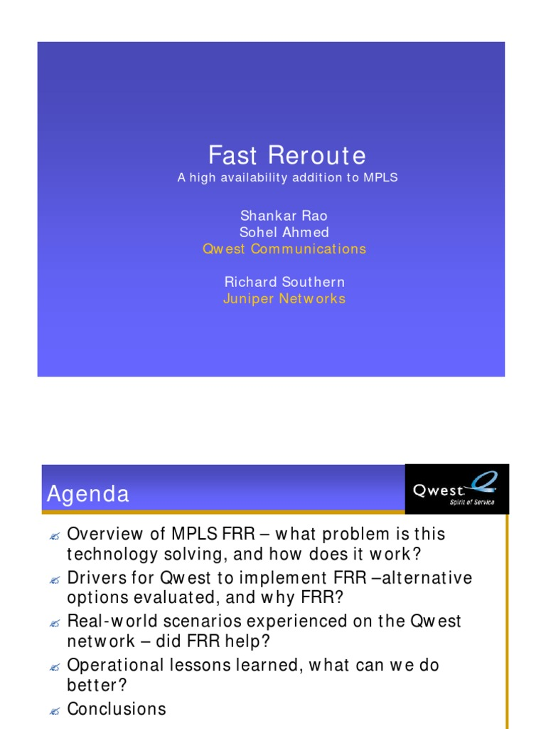 Juniper Fast Reroute | Multiprotocol Label Switching | Networks