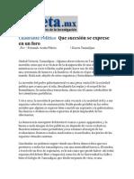 01-04-2014 Gaceta.mx - Que sucesión se exprese en un foro.