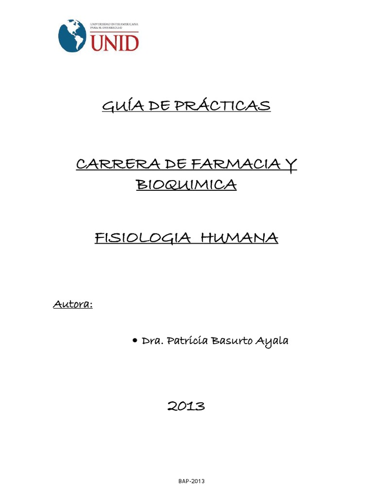 Guia de Practica de Fisiologia Humana Farmacia 2014 Dra Basurto