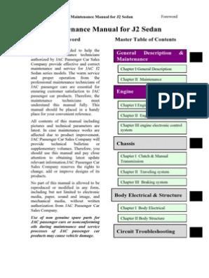 Manual de Servicio Jac j2 | Radiator | Manual Transmission on