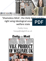 """'Shameless Mick', the Daily Mail and the right wing ideological assault on the welfare state"" by Dr Paddy Hoey"
