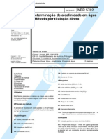 NBR 5762 (Dez 1977) - Determinação de alcalinidade em água - Método por titulação direta