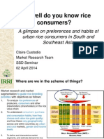 How Well Do You Know Rice Consumers? A glimpse on preferences and habits of urban rice consumers in South and Southeast Asia