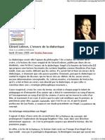 Gérard Lebrun, L'envers de la dialectique - actu philosophia