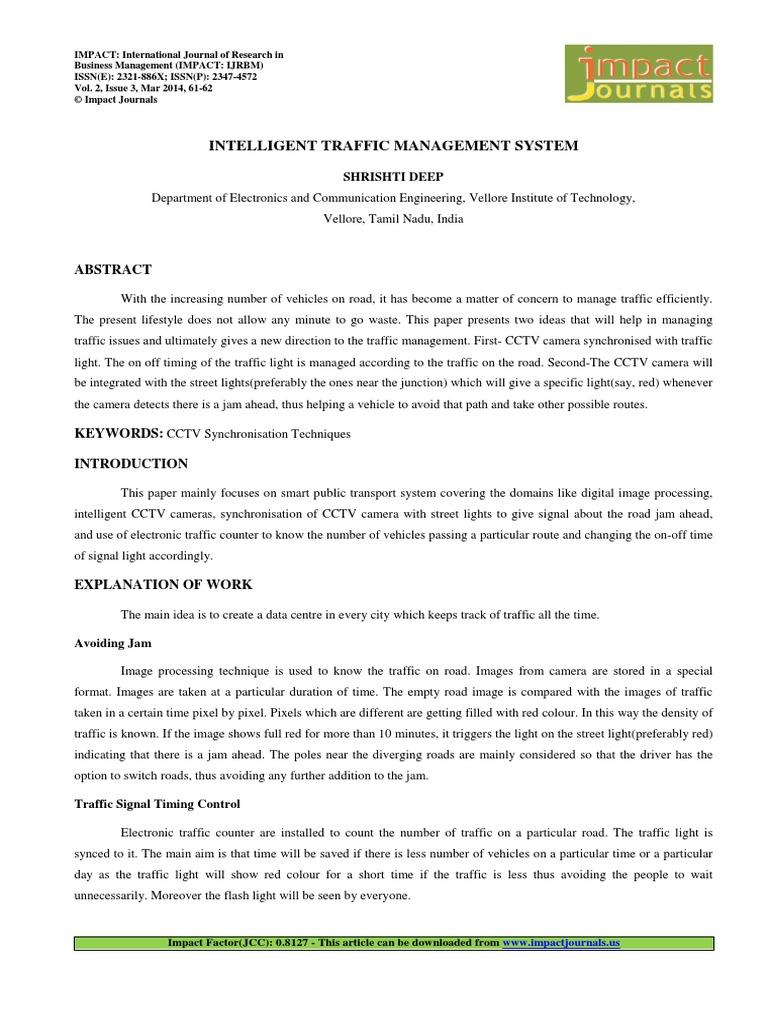 6  Manage-Intelligent Traffic Management System-Shrishti