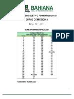 Medicina Bahiana Gabarito Prosef 2012 1