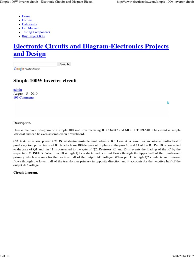 Cd4047 Inverter Power Electronic Circuits Simple Fet Amplifier And Diagramelectronics