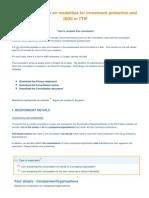 Documento para rellenar de la consulta pública sobre el ISDS de la Unión Europea