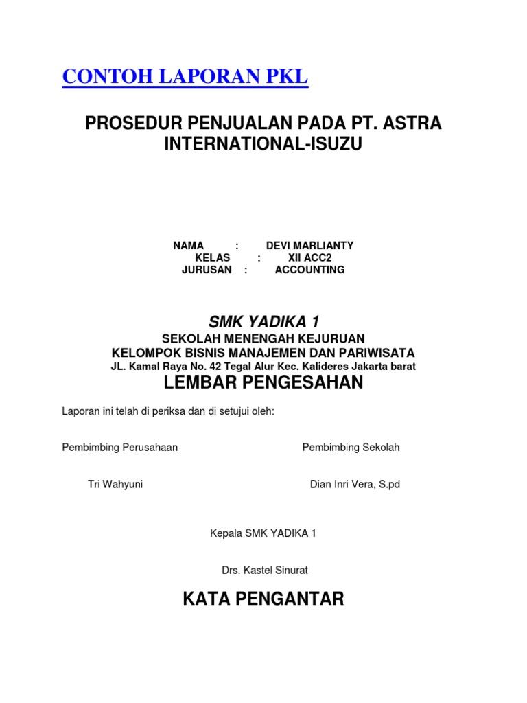 Contoh Laporan Pkl Lasoparating