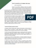 Manifiesto Mesa de Dialogo Mineria