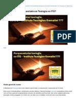 Porque Estudar Bacharelado Em Teologia No ITG