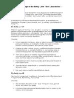 Checklist for Design of Bio-Safety Level 1 to 4 Laboratories