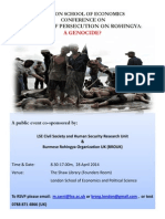 LSE Conference on Decades of State Persecution of Myanmar's Rohingya Inivitation