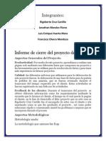 Informe de Cierre Del Proyecto de Sistemas