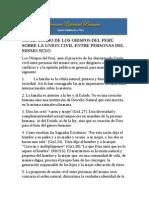 Los Obispos Del Peru sobre la unión civil