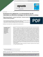 Evaluación de la adaptación a un entrenamiento de alta intensidad