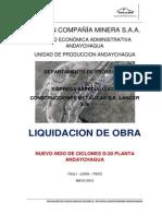 Liquidación de obra D-20