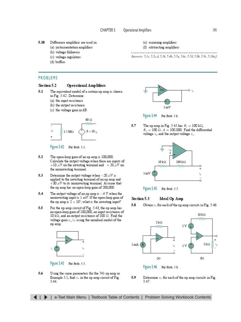 Alexander Sadiku Fundamentals Of Electric Circuits Operational 741 Amplifier Electronic