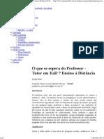 O que se espera do Professor - Tutor em EaD _ Ensino à Distância _ Tânia Zambelli ¤ Assessoria Empresarial e Coaching