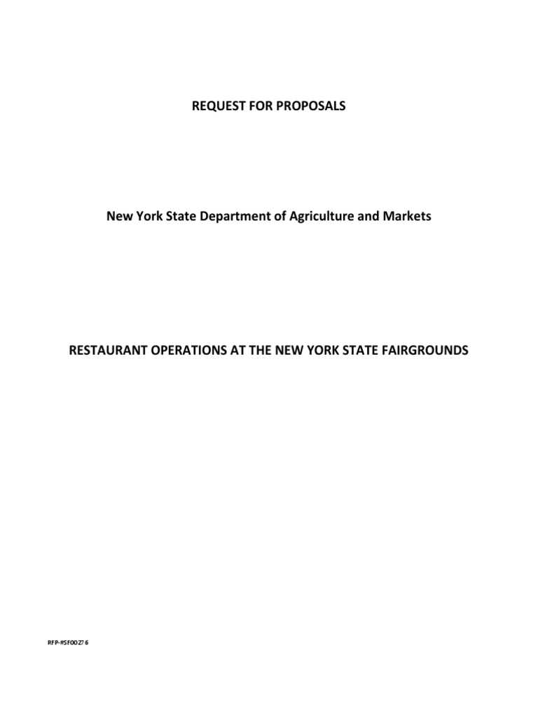 Restaurant Operations-NYS Fair | Request For Proposal | Insurance
