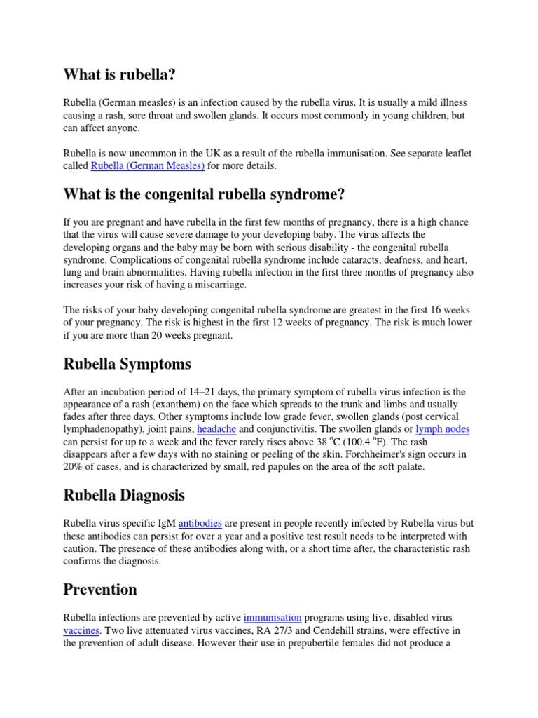 Rubella and pregnancy