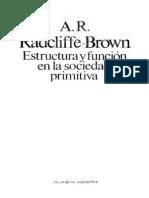 115709733 Radcliffe Brown Estructura Y Funcion en La Sociedad Primitiva