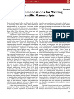 Eight Recommendations for Writing Titles of Scientific Manuscripts