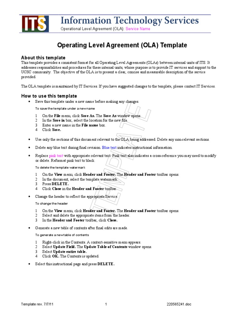 Ola Template Service Level Agreement Provisioning